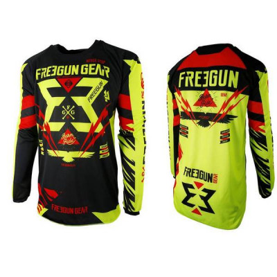 Maillot Cross Freegun Contact Trooper Néon Jaune Rouge 2017