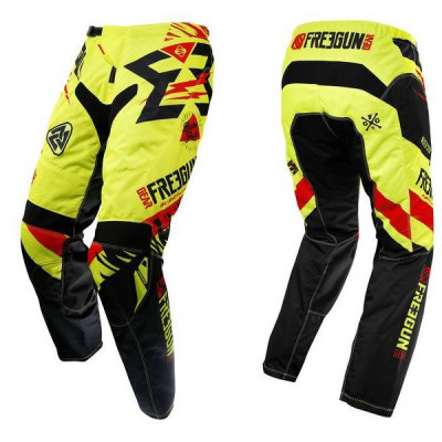 Pantalon Cross Freegun Contact Trooper Néon Jaune Rouge 2017