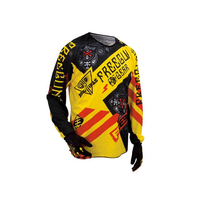 Maillot Cross Freegun Devo Bandana Jaune Rouge 2016